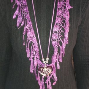 Lace Scarf With Silver Beads And Pendant