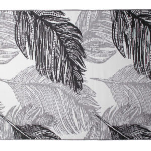 BLACK AND WHITE FEATHER PATTERN POLYPROPELENE MAT 180X270CM