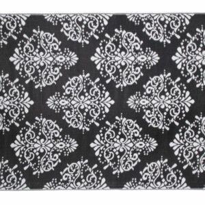BLACK AND WHITE FLEUR DE LIS POLYPROPELENE MAT 270X180 CM
