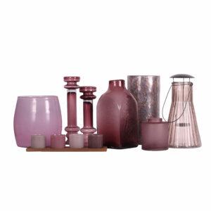 Mauve Glass Candle Holders