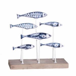 METAL AND WOOD FISH DECOR
