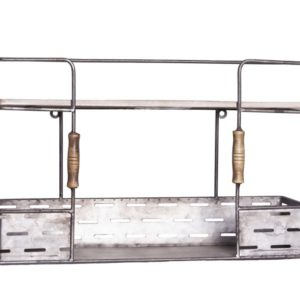 Silver Metal And Wooden Decorative Wall Shelf