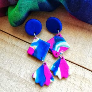Kleivimy Blue & Pink Hanging Earrings