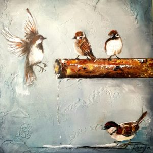 4 Sparrows Painting