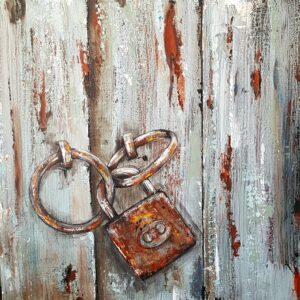Rustic Door With Lock Painting