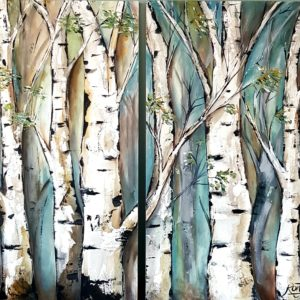 Birch Trees – 1 Set Of Two Paintings