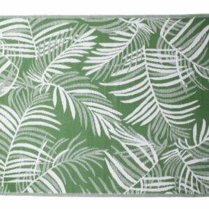 GREEN AND WHITE PALM LEAF PATTERN POLYPROPELENE MAT 270X180CM