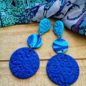 Kleivimy Blue Lace 3 Tier Earrings