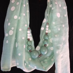 Scarf With Wooden Beads Necklace