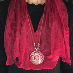 Scarf With Glass Dome Pendant