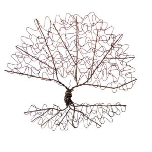 Flat Oval Shaped Metal Wall Decor Tree On A Single Stem And Metal Roots