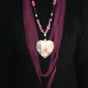 Lace Scarf With Wooden Beads And Pendant