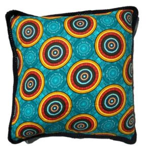 Solar Flare: Square African Wax Print And Crochet Cushion