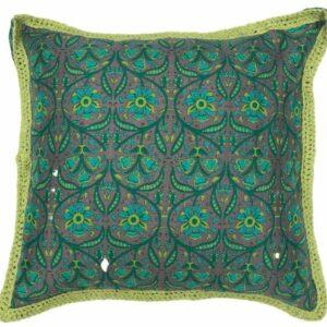 Verdant: Square African Wax Print And Crochet Cushion