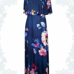 Navy Floral Bardot Dress