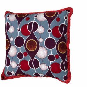 Yari: Square African Wax Print And Crochet Cushion