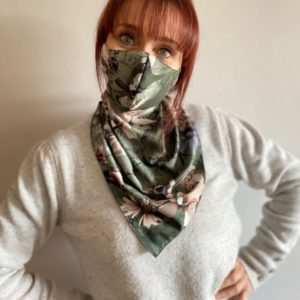 Dramatic Floral On Green Charcoal Background Scarf Mask