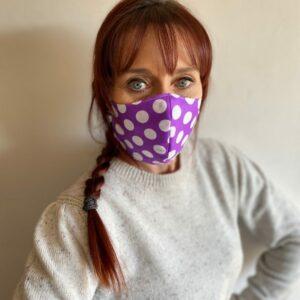 3 Ply Polycotton Face Mask White Polka Dots On Purple