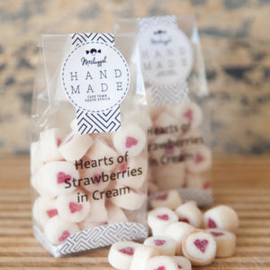 "Rock Candy Hearts ""Hearts Of Strawberries In Cream"". 100g Of Sweet Old Fashioned Love."