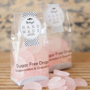 "Sugar Free Drops – Watermelon & Grapefruit 100g. Old Fashioned ""Citrus Wedge"" Shaped Drops Of Botanical Deliciousness."