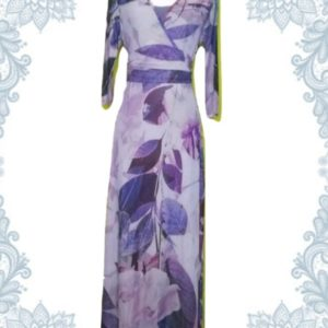 Purple Leaves Empire Dress