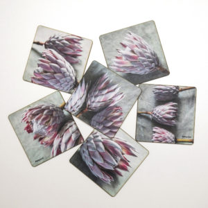 Protea Coasters Set Of 6 (Painted Pink)