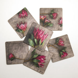 Protea Coasters Set Of 6 (Leafy Red)
