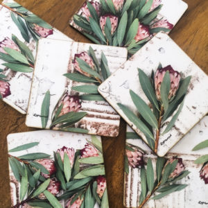 Protea Coasters Set Of 6 (Rustic Red Robyn)