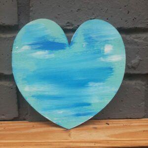 Wooden Heart – Paint Blue